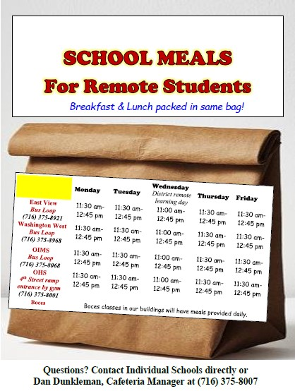 School Lunch Poster with times